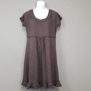 Fresh Produce brown 100 % cotton ruffled dress